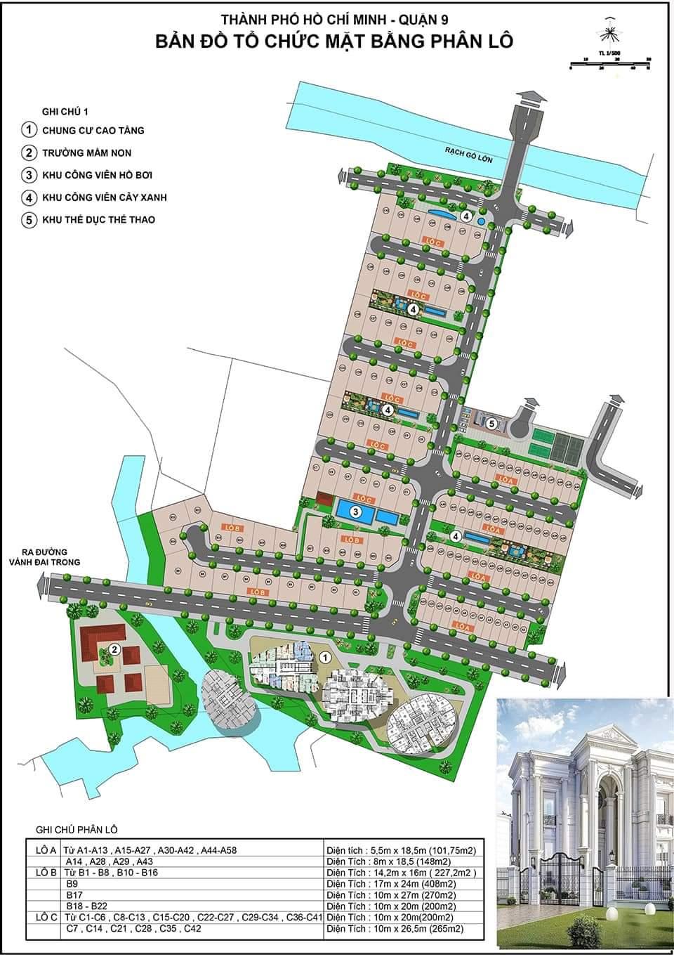 Mặt bằng dự án nhà phố biệt thự Armena Quận 9 Khang Điền.