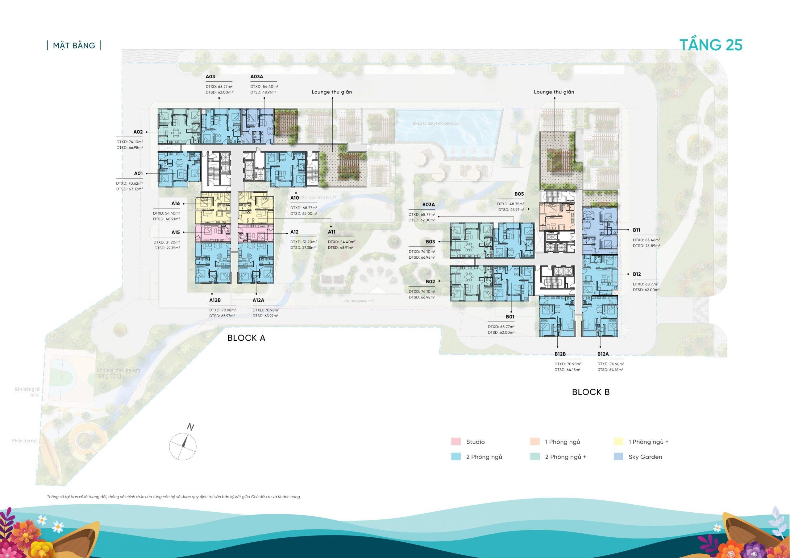 Mặt bằng tầng 25 căn hộ D-Aqua Quận 8 chủ đầu tư DHA