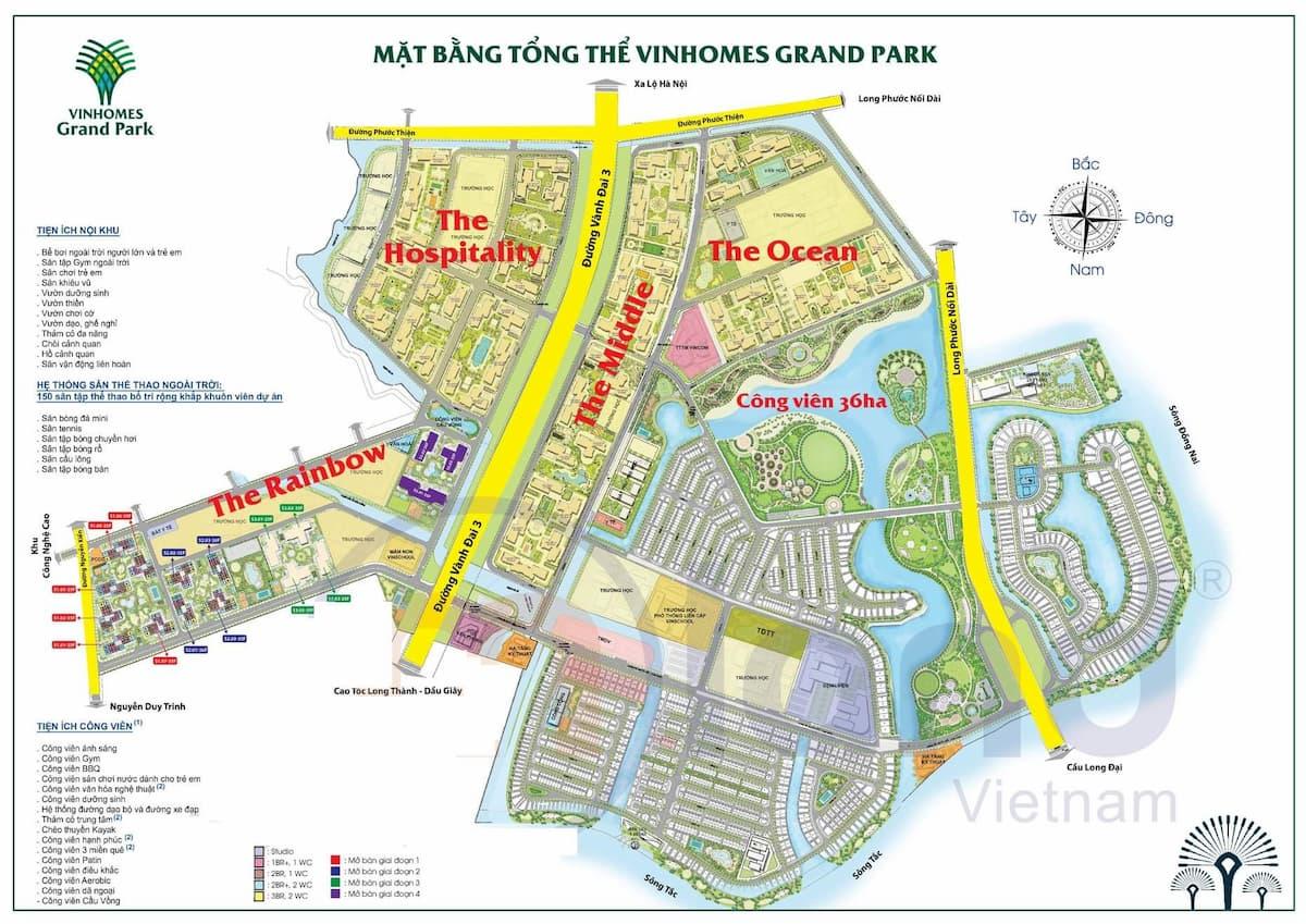 Mặt bằng tổng thể dự án Vinhomes Grand Park Quận 9