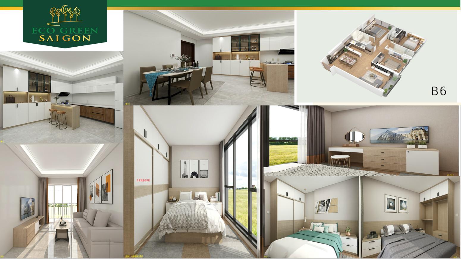 Thiết kế căn hộ 3 phòng ngủ mã căn B6 dự án Eco Green Sài Gòn
