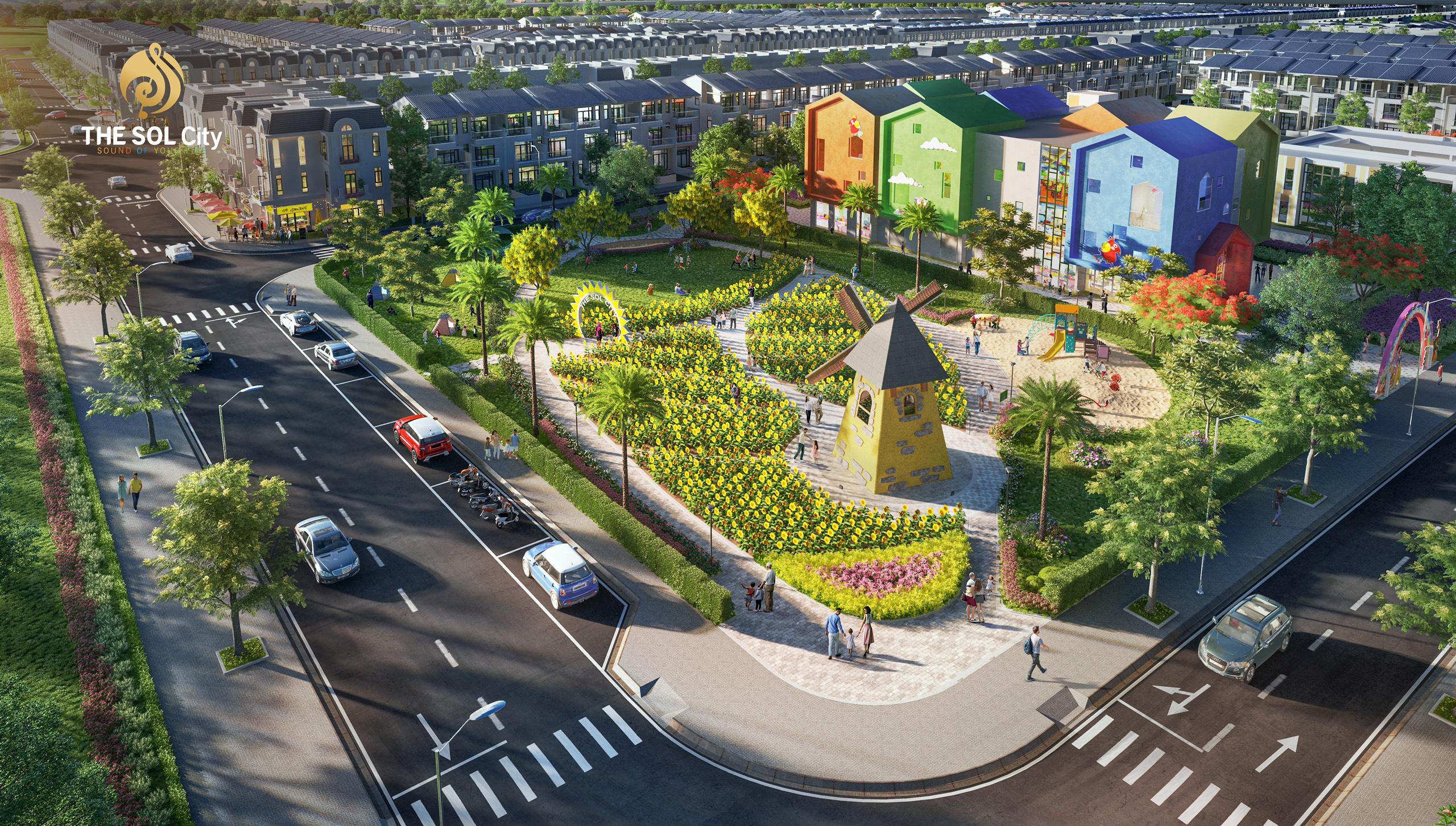 Khu vực trường học bên trong dự án nhà phố đất nền The Sol City Thắng Lợi