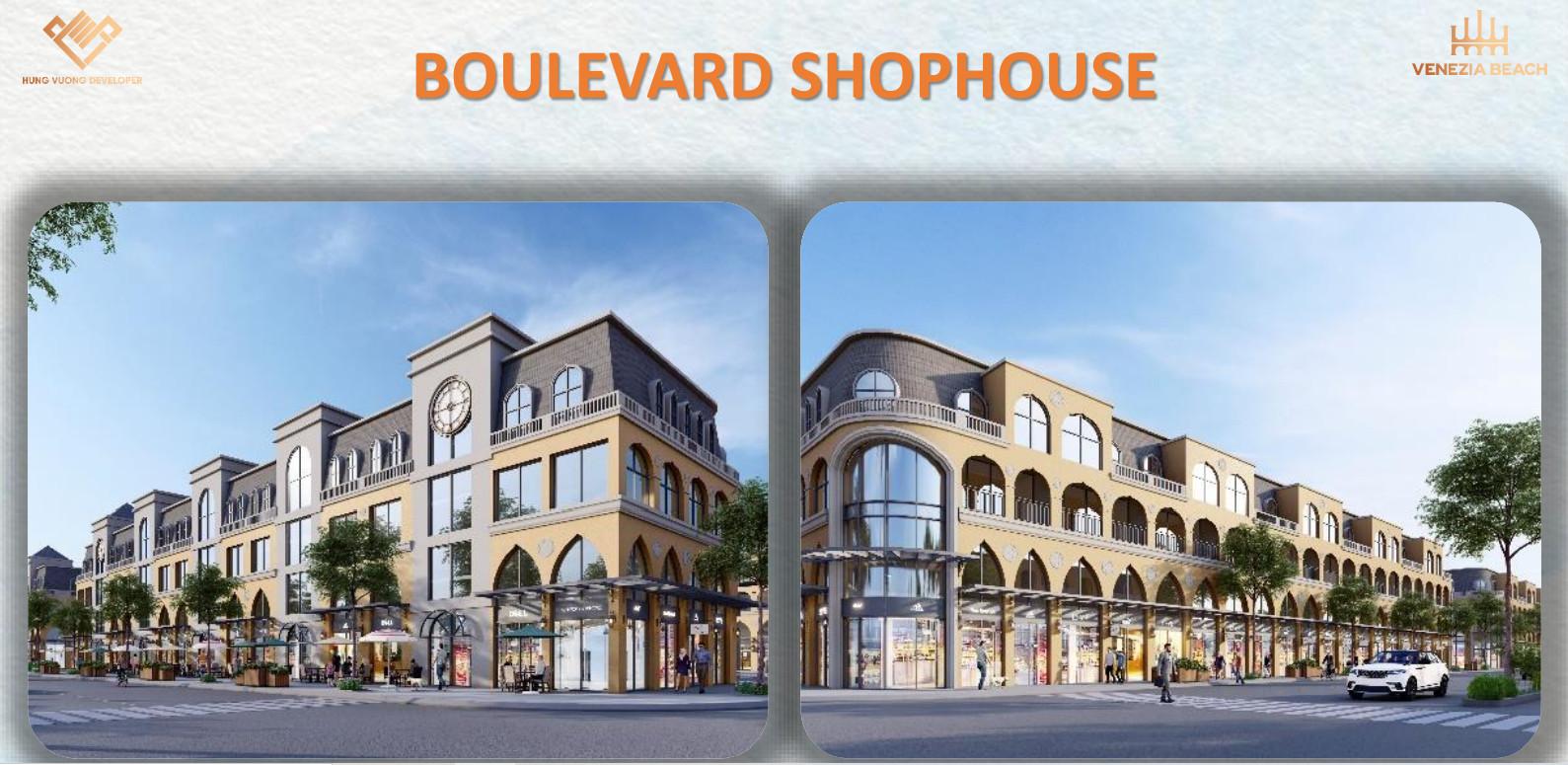 Phối cảnh mẫu nhà Boulevera shophouse Venezia Beach phân khu The Venice