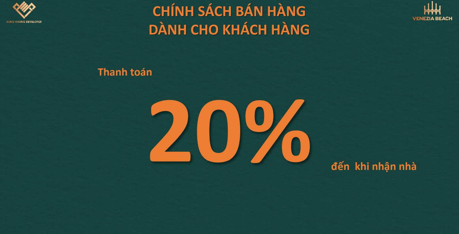Chỉ Thanh Toán 20% cho tới khi nhận nhà chỉ có tại dự án Venezia Beach Hồ Tràm