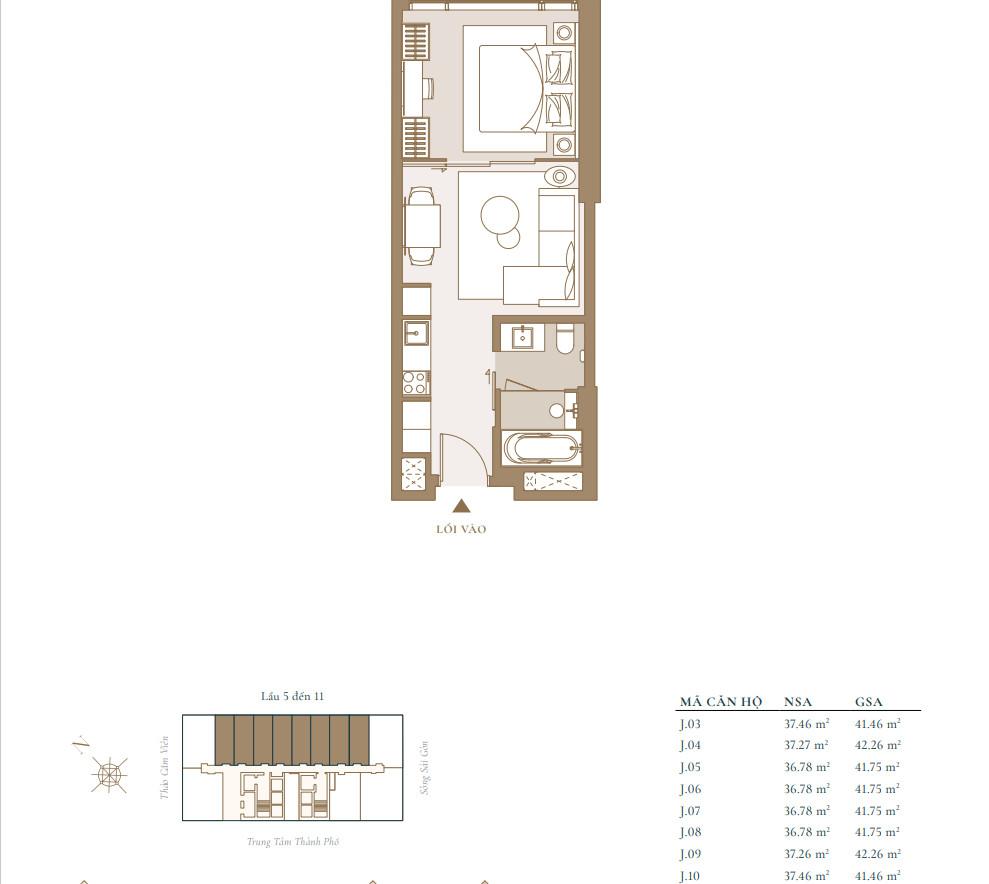 Mẫu thiết kế căn hộ 1PN 42m2 tại căn hộ Grand Marina Sài Gòn Quận 1 Masterise Homes
