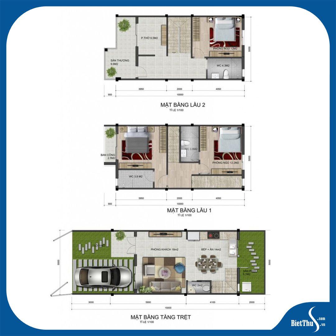 Mẫu nhà phố 5x15m dự án Park Riverside Quận 9