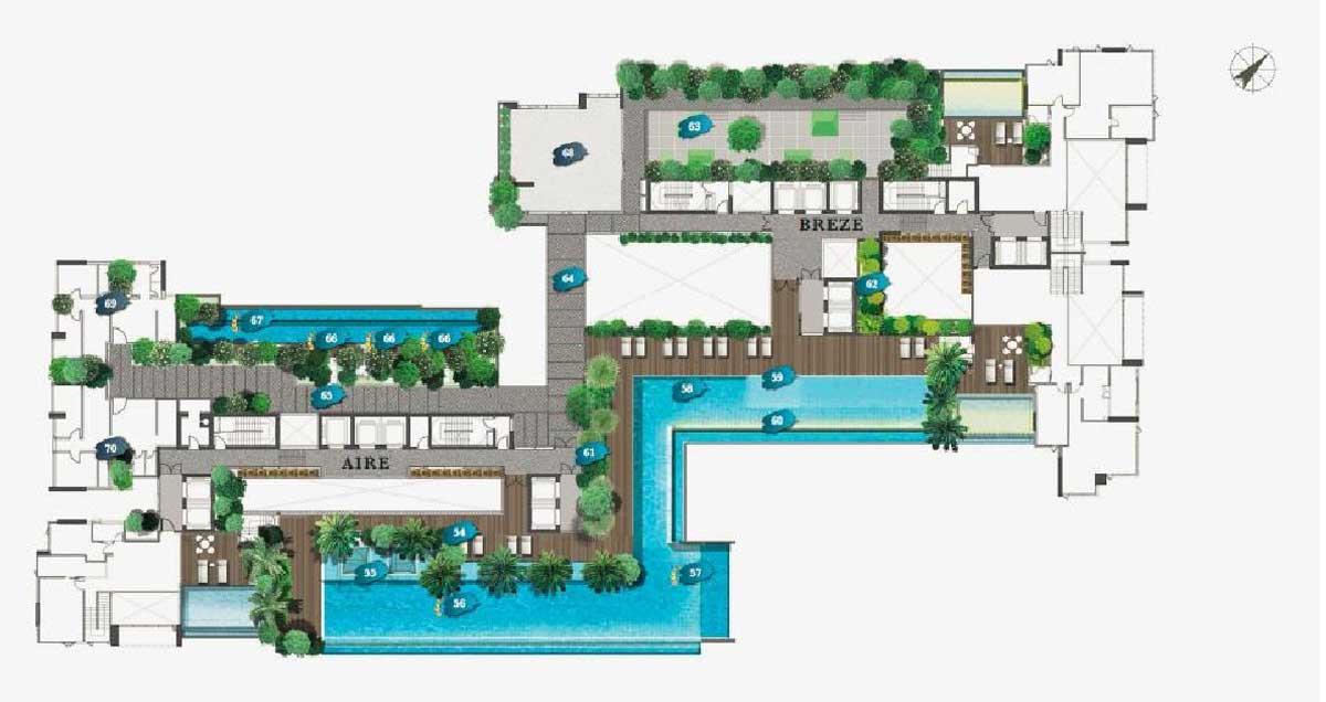 Mặt bằng tầng tiên ích hồ bơi dự án Define Quận 2 Capitaland