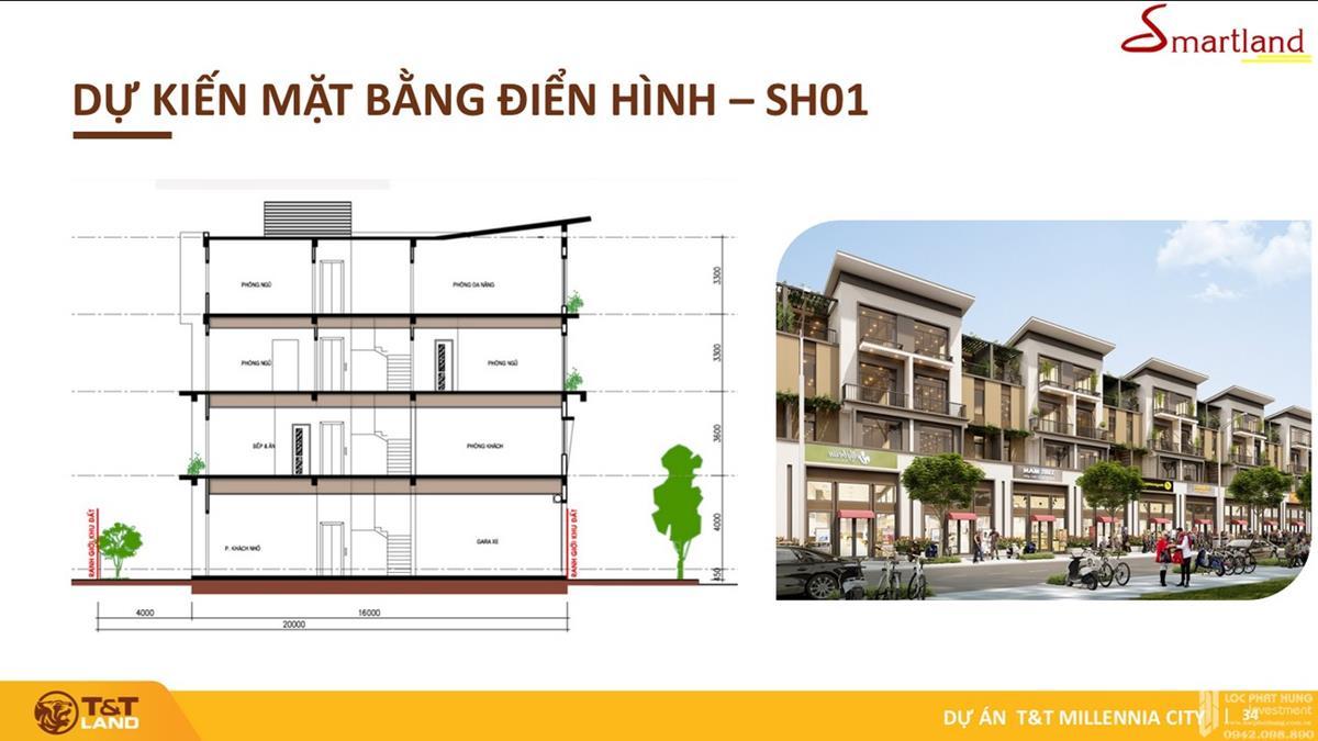 Mẫu thiết kế mặt dựng shophouse dự án T&T Millennia City Long Hậu