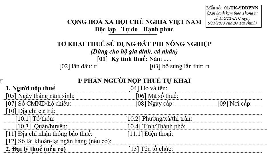 to-khai-thue-su-dung-dat-phi-nong-nghiep