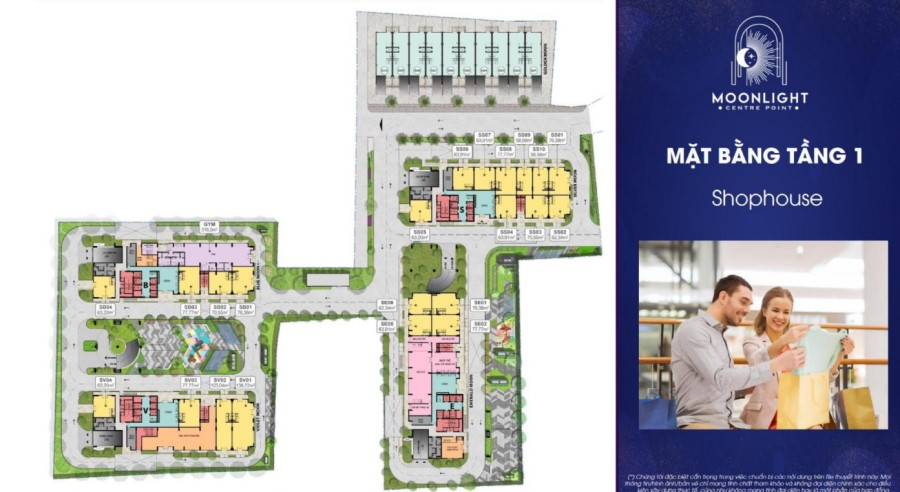 Mặt bằng tầng 1 căn hộ Moonlight Centre Point Bình Tân chủ đầu tư Hưng Thịnh.